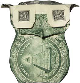 dollar bill origami owl (preview) money origami, moneygami, $1 ...   275x264